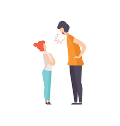 angry man screaming at frightened woman couple vector image