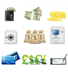 banking and finance icon set vector image