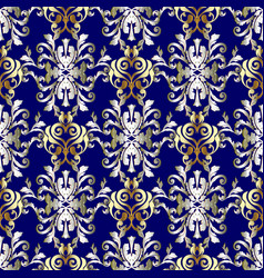 baroque seamless pattern blue gold silver vector image