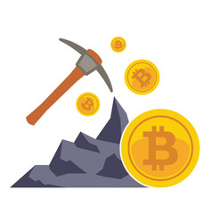 Bitcoin mining concept with pickaxe coin and vector