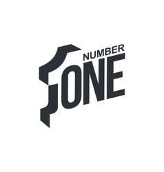 Black and white number one diagonal logo template vector