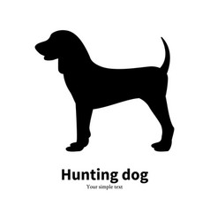 Black silhouette hunting dog vector