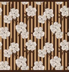 Brown taupe botanical floral seamless pattern vector