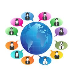 business people communication around world vector image