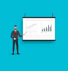 Business presentation on the projector screen with vector
