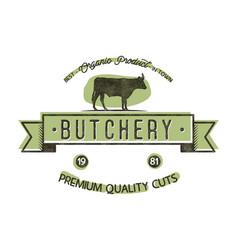 Butchery shop vintage emblem butchery store logo vector