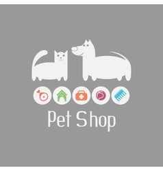 Cat and dog sign for pet shop logo what they vector image