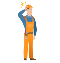 caucasian builder with lightning over his head vector image