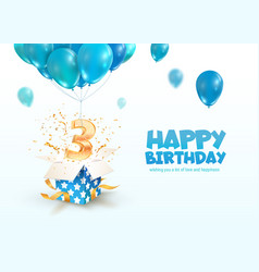 celebrating 3 years birthday 3d vector image