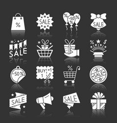christmas season sale white silhouette icon set vector image