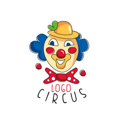 Circus logo emblem with clown for amusement park vector
