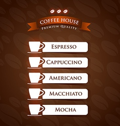 Coffee House Premium Quality menu list designs vector image