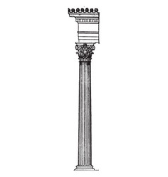 Corinthian greek column leaves vintage engraving vector