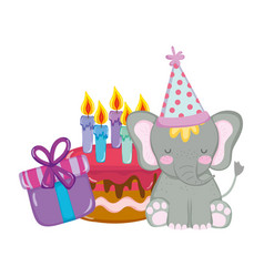 cute and little elephant with party hat and cake vector image