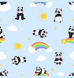 cute panda print childish seamless pattern vector image