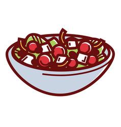 Delicious healthy greek salad in deep bowl vector