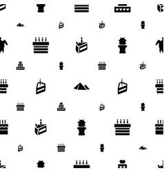 desert icons pattern seamless white background vector image