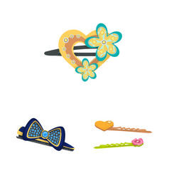 Design barrette and hair sign set of vector