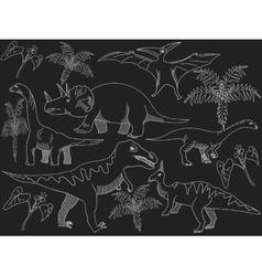 Dinosaur chalk vector