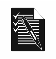 Document with plan and pen icon simple style vector image