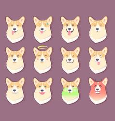 Dog emoticon puppy collection vector