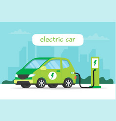 electric car charging on city background and vector image