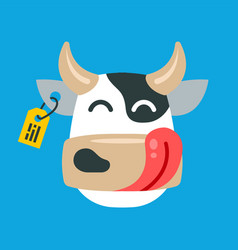 Face a contented cow on a blue background vector