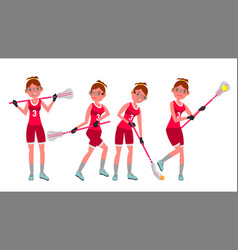 female lacrosse player profesional sport vector image