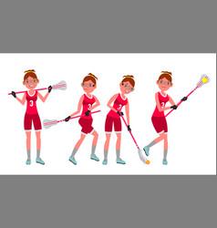 Female lacrosse player profesional sport vector