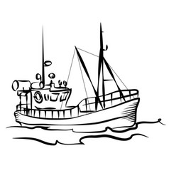 Fishing boat graphic vector
