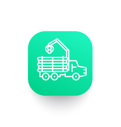 forwarder icon logging truck forestry vehicle vector image