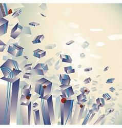Geometric 3d explosion transparent striped cubes vector