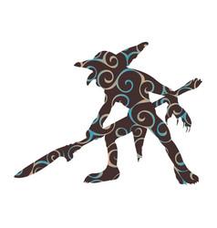 goblin pattern silhouette monster villain fantasy vector image