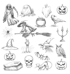 Halloween party sketch decorative icons vector