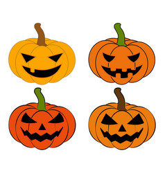 halloween pumpkin set jack o lantern isolated on vector image
