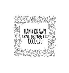 hand drawn love doodle icons vector image