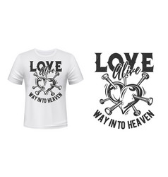 heart love t-shirt print mockup broken heart vector image