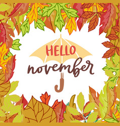 hello november poster with bright autumn birch vector image
