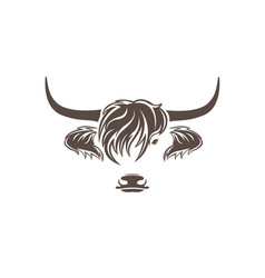 Highland cow head design on white background farm vector