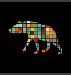 hyena predator color silhouette animal vector image
