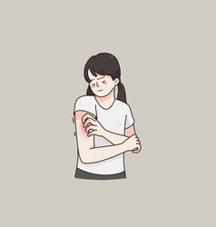Itchy skin allergy skin problems concept vector