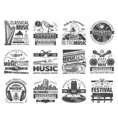 karaoke bar music club and dj recording studio vector image