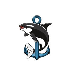 Killer whale and anchor heraldic icon vector