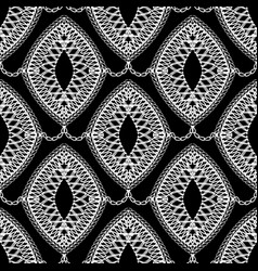 Lace black and white seamless pattern ornamental vector