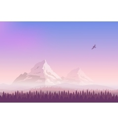 Landscape Snowy mountains gradient sunset vector