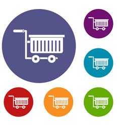 Large plastic supermarket cart icons set vector