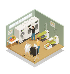 laundry equipment isometric composition vector image