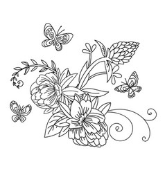 line art decorative flower composition vector image