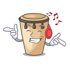 Listening music conga mascot cartoon style vector