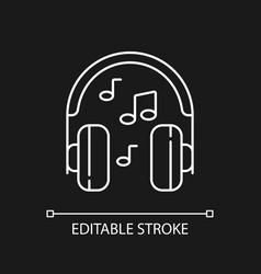 listening to music white linear icon for dark vector image